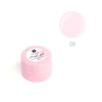 ADRICOCO, Акригель для наращивания ногтей №09 камуфлирующий кремовый розовый  (10 мл.)