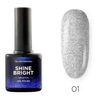 Гель-лак светоотражающий TNL Shine Bright №01 - Серебряный луч (10 мл.)