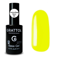 Grattol, База Каучуковая для гель-лака Rubber Base Neon 02 (9мл.)