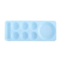 TNL, Палитра для разведения цветных гелей, красок с ячейками (узкая) - голубая