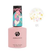 ADRICOCO, Закрепитель для гель-лака c блестками Nympha №01- солнечная фея (8 мл)