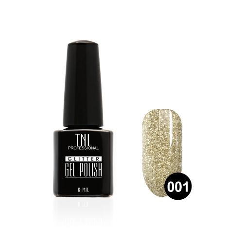 Гель-лак TNL - GLITTER №01 - Серебристо-золотой (6 мл.)