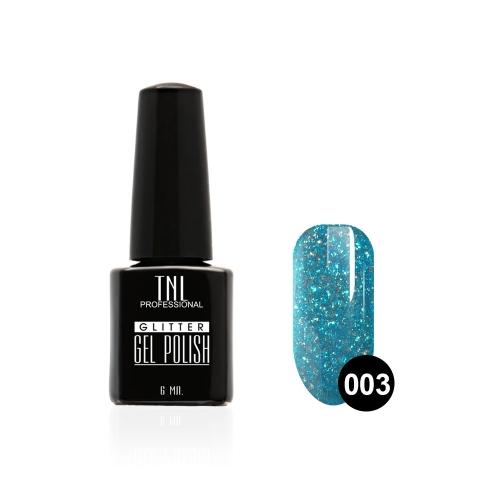 Гель-лак TNL - GLITTER №03 - Голубой (6 мл.)