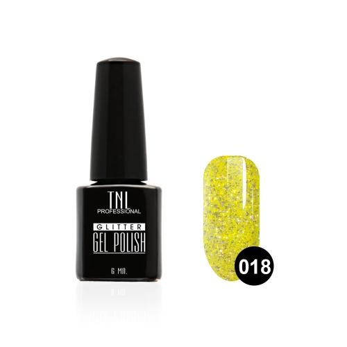 Гель-лак TNL - GLITTER №18 - Желтый (6 мл.)