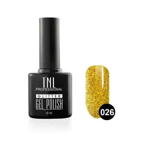 Гель-лак TNL - GLITTER №26 - Золотой с крупным шиммером (10 мл.)