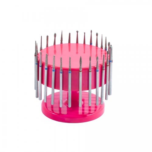 Подставка для фрез (насадок) магнитная, розовая