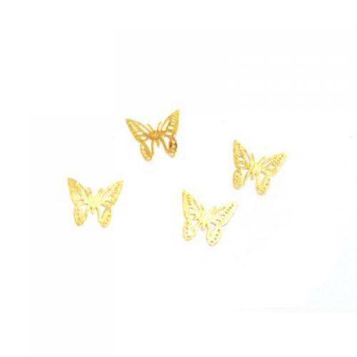Дизайн золотистый металл TNL - Бабочки (20 шт/уп)