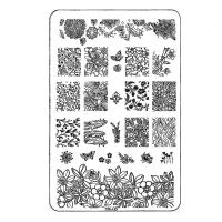 Трафарет металлический для стемпинга средний прямоугольный TNL - Магия цветов (в инд. уп.)