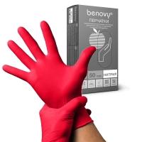 Benovy, Перчатки (M) красные, 50 пар/уп.