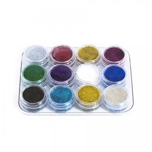 Блестки набор из 12 цветов для дизайна ногтей