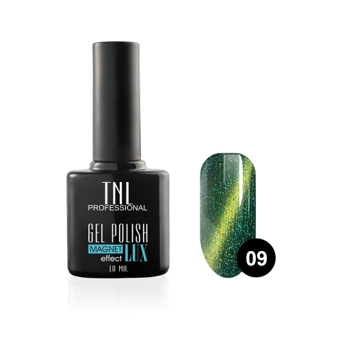 Гель-лак TNL - magnet lux №09 - изумрудный с блестками