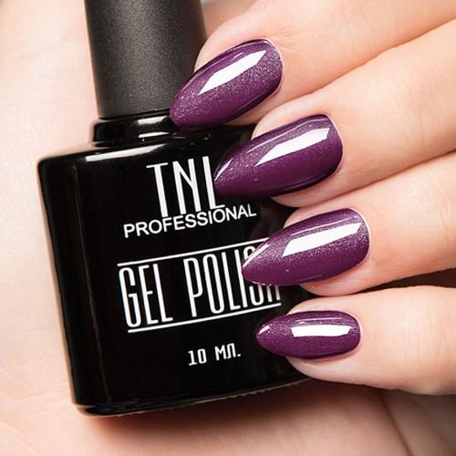 Цветной гель-лак TNL №008 - фиолетовый с блестками (10 мл.)