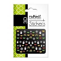 RuNail, Наклейки для дизайна ногтей 3D (Новогодние: цветные) 2051