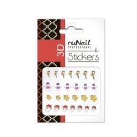 RuNail, Наклейки для дизайна ногтей 3D (Новогодние: цветные) 2052