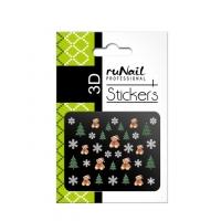 RuNail, Наклейки для дизайна ногтей 3D (Новогодние: цветные) 2053