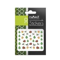 RuNail, Наклейки для дизайна ногтей 3D (Новогодние: цветные) 2054