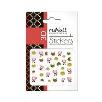 RuNail, Наклейки для дизайна ногтей 3D (Новогодние: цветные) 2058