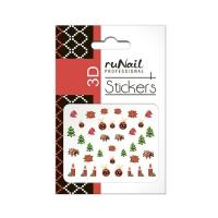 RuNail, Наклейки для дизайна ногтей 3D (Новогодние: цветные) 2059