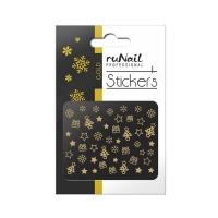 RuNail, Наклейки для дизайна ногтей 3D (Новогодние, золотые) 2066