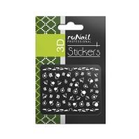RuNail, Наклейки для дизайна ногтей 3D (Новогодние, черные и золотые) 2067