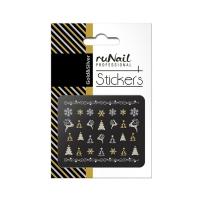 RuNail, Наклейки для дизайна ногтей 3D (Новогодние, черные и серебряные) 2070