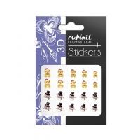 RuNail, Наклейки для дизайна ногтей 3D (Новогодние, мишки и снеговики) 2074