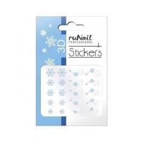 RuNail, Наклейки для дизайна ногтей 3D (Новогодние: снежинки, голубые) 2076