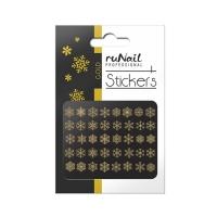 RuNail, Наклейки для дизайна ногтей 3D (Новогодние: снежинки, золотые) 2079