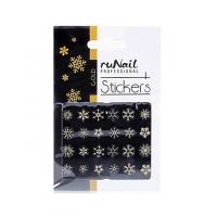RuNail, Наклейки для дизайна ногтей 3D (Новогодние: снежинки, золотые) 2080