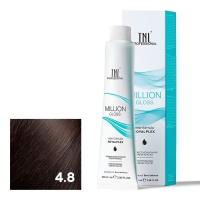 TNL, Крем-краска для волос Million Gloss оттенок 4.8 Коричневое какао, 100 мл