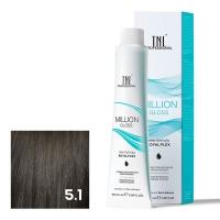 TNL, Крем-краска для волос Million Gloss оттенок 5.1 Светлый коричневый пепельный, 100 мл