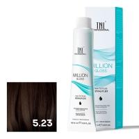 TNL, Крем-краска для волос Million Gloss оттенок 5.23 Светлый коричневый перламутр. золотистый, 100 мл