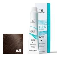 TNL, Крем-краска для волос Million Gloss оттенок 6.8 Темный блонд капучино, 100 мл