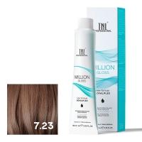 TNL, Крем-краска для волос Million Gloss оттенок 7.23 Блонд перламутровый золотистый, 100 мл
