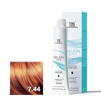 TNL, Крем-краска для волос Million Gloss оттенок 7.44 Блонд медный интенсивный, 100 мл