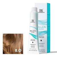 TNL, Крем-краска для волос Million Gloss оттенок 8.0 Светлый блонд, 100 мл