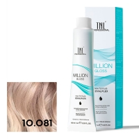 TNL, Крем-краска для волос Million Gloss оттенок 10.081 Платиновый блонд пастельный ледяной, 100 мл