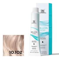 TNL, Крем-краска для волос Million Gloss оттенок 10.102 Платиновый блонд пепельный жемчужный, 100 мл